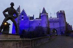 Het Steen en Amberes en Bélgica fotografía de archivo