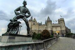 Het Steen Fortress and Statue of Lange Wapper in Antwerp, Belgium Stock Image