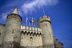 Het Steen kasteel. Antwerpen Stock Afbeeldingen