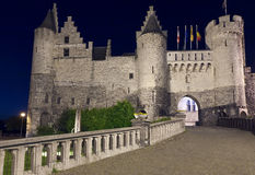 Het Steen at night, Antwerp, Belgium Stock Photos