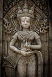Het steengezicht van de Khmer koning op de muur van Tempel, Royalty-vrije Stock Afbeeldingen