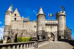 Het steenkasteel in Antwerpen, België stock afbeelding