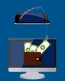 Het stelen van het geld Royalty-vrije Stock Afbeeldingen