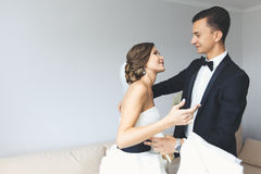 Het stellen van de bruid en van de bruidegom Royalty-vrije Stock Afbeeldingen