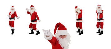 Het stellen van de Kerstman tegen wit, het Knippen Weg Stock Afbeelding