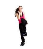 Het stellen van de vrouw in de laarzen van Sprongen Kangoo Stock Foto's