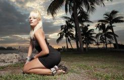Het stellen van de vrouw op haar knieën Stock Foto
