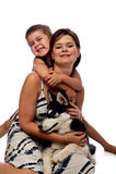 Het stellen van het mamma en van de zoon met Siberische Schor. Stock Fotografie