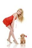 Het stellen van het meisje in rode kleding met kleine poedel Royalty-vrije Stock Foto
