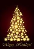 Het sterrige goud van de Kerstboom Royalty-vrije Stock Afbeelding