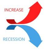 Het stijgen en recessiepijlen Stock Fotografie