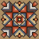 Het stikken van bloemenpatroon in desaturated kleuren op een lichtbruine achtergrond Royalty-vrije Stock Afbeelding