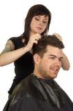 Het Stileren van het haar bij de Salon van de Schoonheid Royalty-vrije Stock Foto's