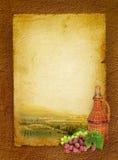 Het stilleven en de wijngaard van de wijn Stock Foto