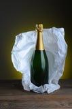 Het Stilleven van de Fles van Champagne stock foto
