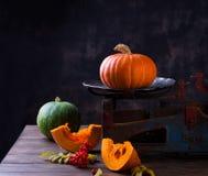 Het stilleven van de herfst met pompoenen en bloemen royalty-vrije stock foto