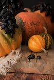 Het stilleven van de de herfstoogst in vilage De dichte pompoenen van meningsdruiven stock foto's
