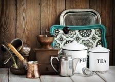 Het stilleven van de keuken Uitstekende werktuigen royalty-vrije stock fotografie