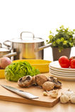 Het stilleven van de keuken, voorbereiding voor het koken Royalty-vrije Stock Foto