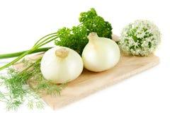 Het stilleven van groenten. Ui Stock Afbeeldingen