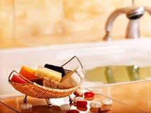 Het stilleven van het bad met stuk zeep. Stock Afbeelding