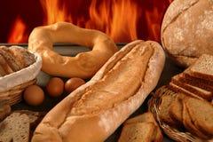Het stilleven van het brood met gevariërde vormen Stock Foto