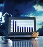 Het stilleven van het concept met laptop computer Stock Afbeelding