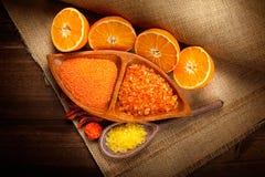 Het stilleven van het kuuroord - Oranje Aromatherapy Stock Afbeeldingen