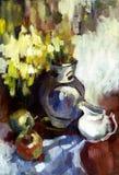 Het stilleven van het olieverfschilderij Stock Afbeelding