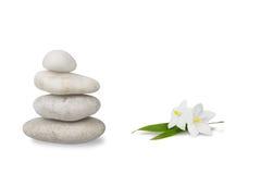 Het stilleven van Wellness, jasmijn met gestapelde kiezelstenen royalty-vrije stock afbeelding