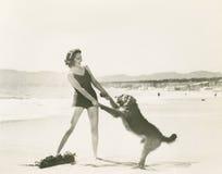 Het stoeien op het strand royalty-vrije stock afbeeldingen