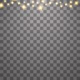 Het stof is geel de gele vonken en de gouden sterren glanzen met speciaal licht Vectorfonkelingen op een transparante achtergrond stock illustratie