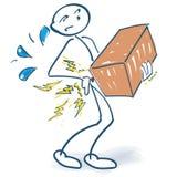 Het stokcijfer heeft plotseling rugpijn terwijl het dragen van een zwaar pakket vector illustratie