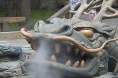 Het stomen van draakhoofd Stock Fotografie