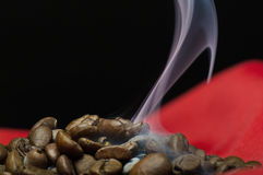 Het stomen van koffiebonen Stock Fotografie