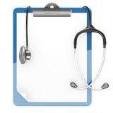 Het stootkussenhouder en stethoscoop van het document Stock Afbeelding
