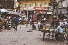 Het straat colorfull Leven in India, Varanasi Stock Foto's
