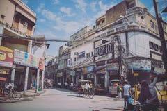 Het straatleven in Oud Delhi, India Stock Fotografie