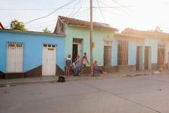 Het straatleven in Trinidad, Cuba Stock Foto