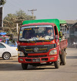 Het straatleven in Yangon, Myanmar Stock Foto