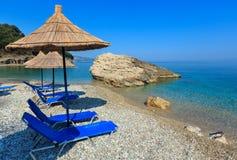 Het strand Albanië van Pulebardha van de de zomerochtend Stock Afbeelding
