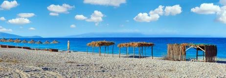 Het strand Albanië van Pulebardha van de de zomerochtend Stock Fotografie