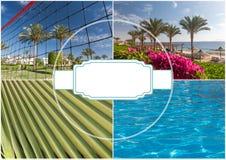 Het strand bij het luxehotel, Sharm el Sheikh, Egypte stock fotografie