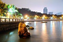Het strand bij nacht Stock Afbeelding