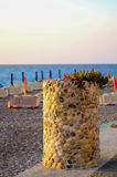 Het strand bij zonsondergang Royalty-vrije Stock Foto