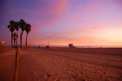 Het Strand Californië van Venetië bij Zonsondergang stock afbeelding