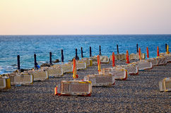 Het strand in de avond Royalty-vrije Stock Afbeeldingen