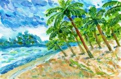 Het strand de oceaan van het overzeese van de zomerpalmen illustratie van de de hemel blauwe waterverf zandlandschap turkooise stock illustratie