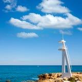 Het strand Denia van Gr Trampoli in de Middellandse Zee van Alicante Royalty-vrije Stock Foto