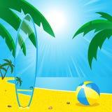 Het strand en branding board2 van de zomer Stock Afbeelding